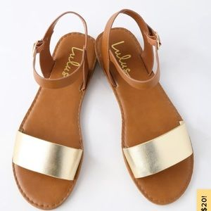 Lulu's gold and brown sandals. Brand new!